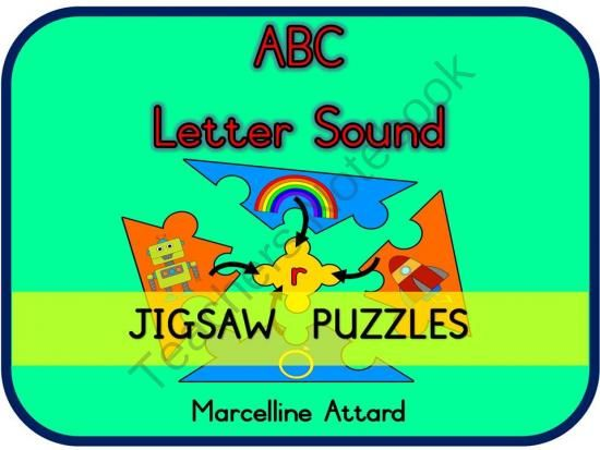 ABC PHONICS LETTER SOUNDS JIGSAW PUZZLES from FREEYOURHEART on TeachersNotebook.com -  (26 pages)  - ABC PHONICS LETTER SOUNDS JIGSAW PUZZLES - Teach and revise alphabet letter sounds in an interactive and fun way!!  These cute and original 5-piece jigsaw puzzles are ideal to use during lessons, in literacy centres and home-schooling.