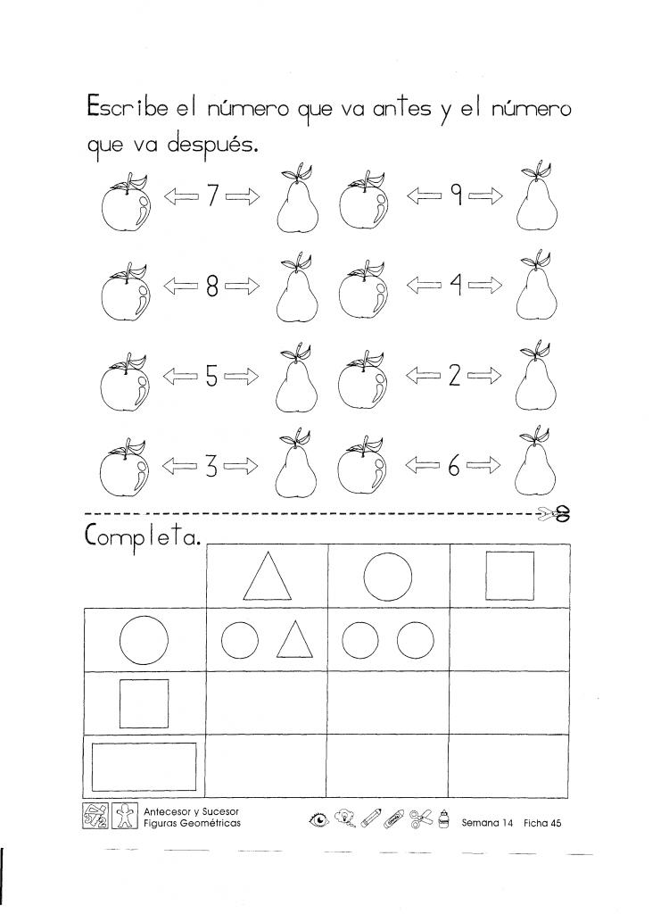 Escribe el número que va antes y el número que va después. Antecesor y sucesor figuras geométricas 1er Grado .