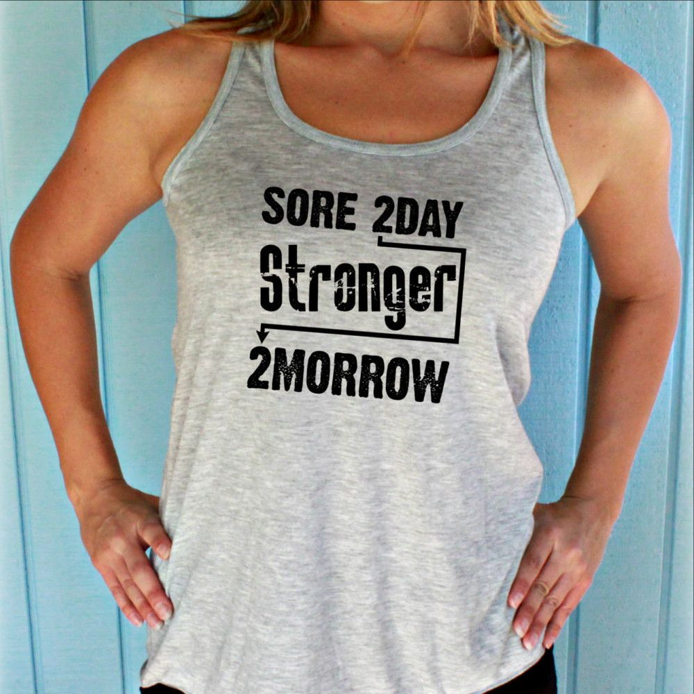 Flowy Fitness Tank Top Women S Active Wear Sore Today Stronger Tomor Womens Workout Outfits Christian Workout Clothes Active Wear For Women
