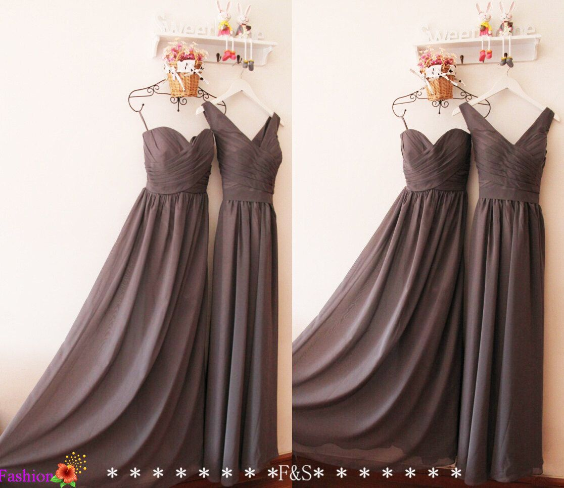Charcoal Gray Bridesmaid Dress,Silver Deep Grey V neck Modest ...