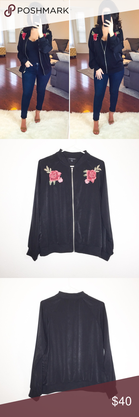 50d8501bc West Kei Embroidered Rose Bomber Jacket Silky soft. Shiny black ...