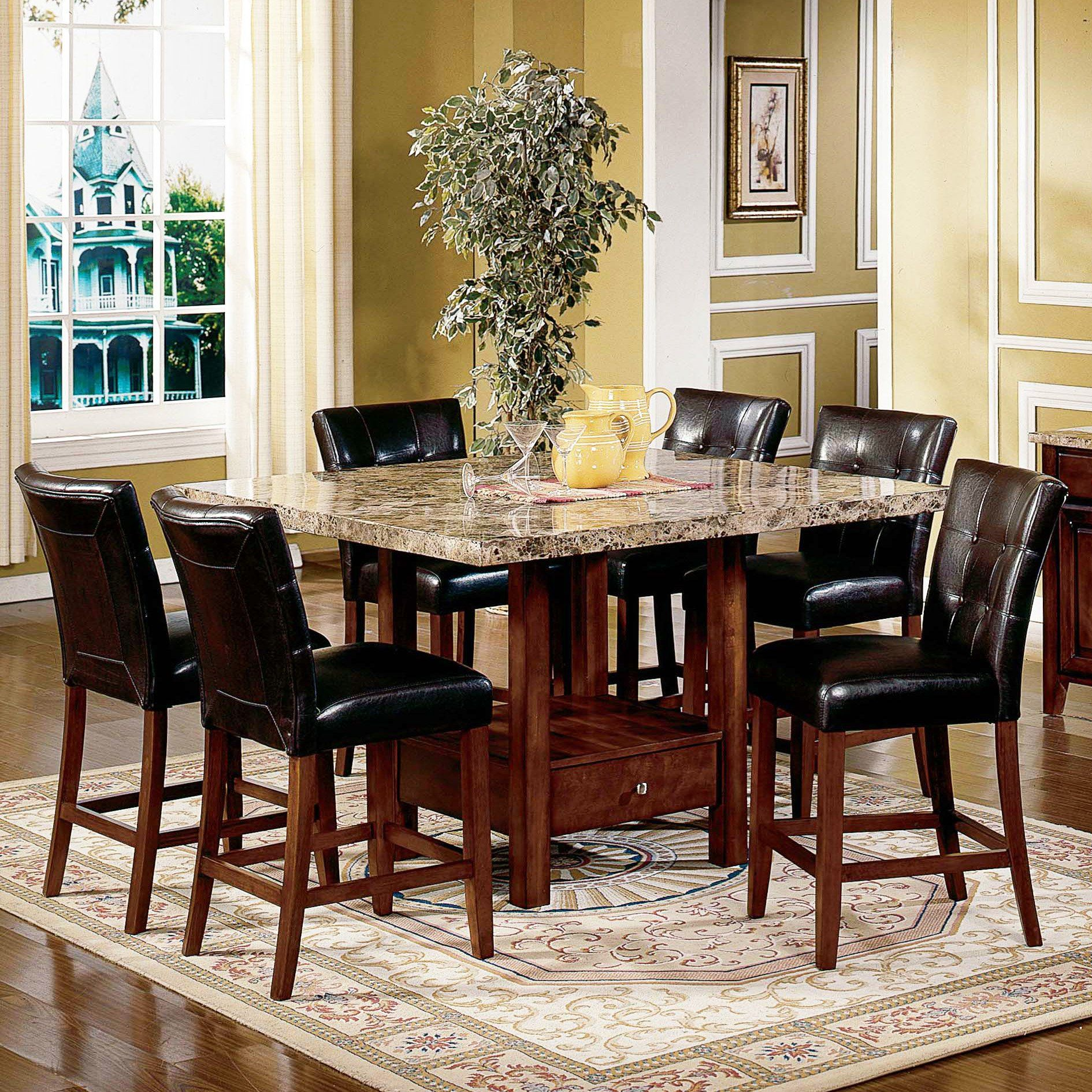 Have To Have Itsteve Silver Montibello 7Piece Marble Top Endearing Dining Room Tables With Marble Top Review