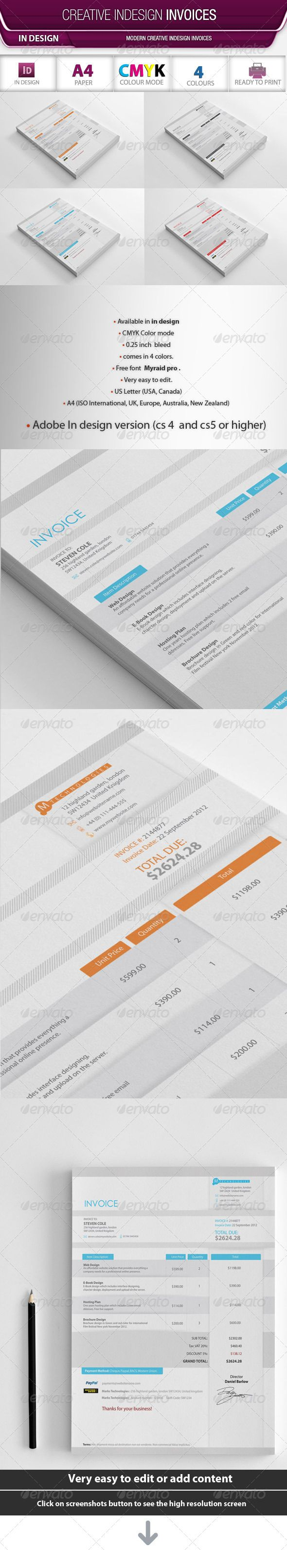 Creative Indesign Invoices  Creative Fonts And Logos
