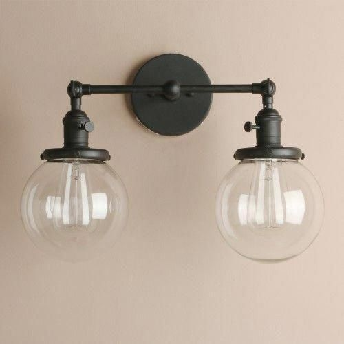 Photo of Vintage 2 Light Wall Sconce with Globe Clear Glass Shade Vanity Light Fixtures for Bathroom