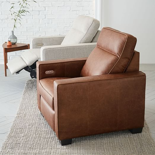 henry leather power recliner chair tobacco west elm