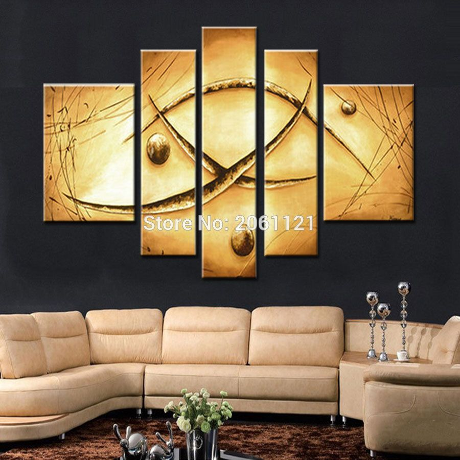 hand-painted oil wall art Yellow soil color canvas painting picture ...