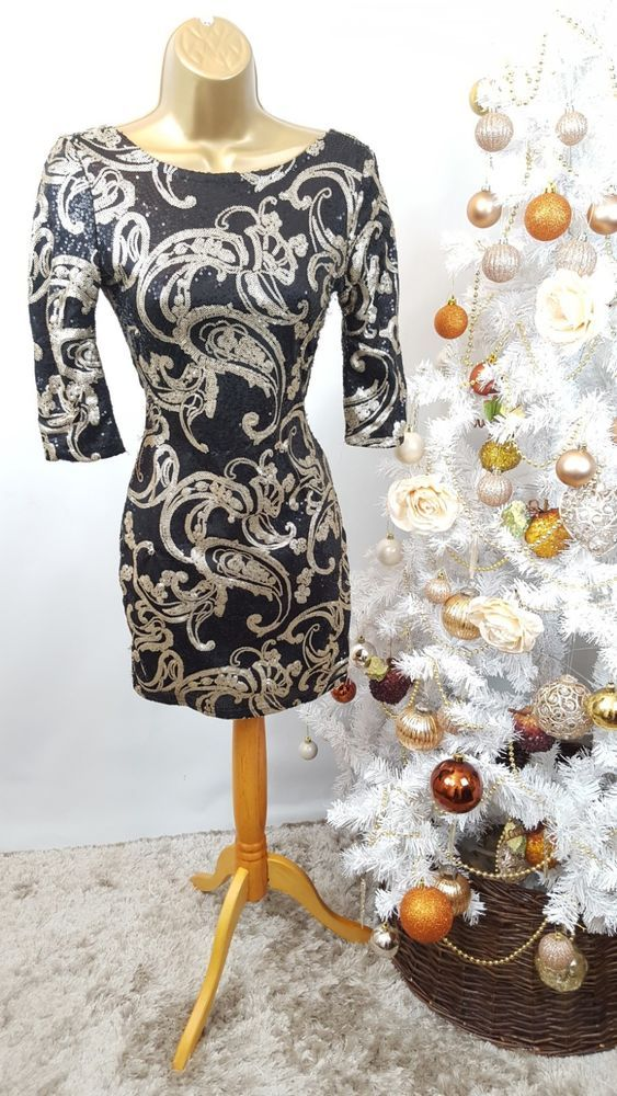 10 DESIGNER RIVER ISLAND BLACK GOLD SEQUIN CHRISTMAS PARTY DRESS SEE