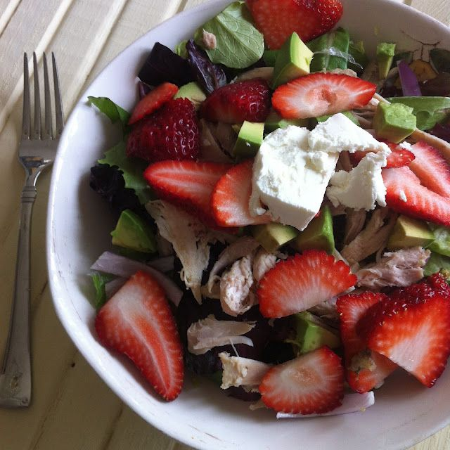 Baby greens with shredded chicken, strawberries, avocado and goat cheese + balsamic