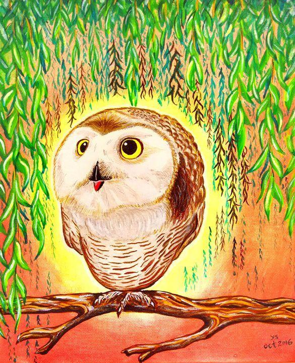 BABY OWL - YS Gallery - Paintings & Prints Animals Birds & Fish Birds… | ArtPal thumbnail