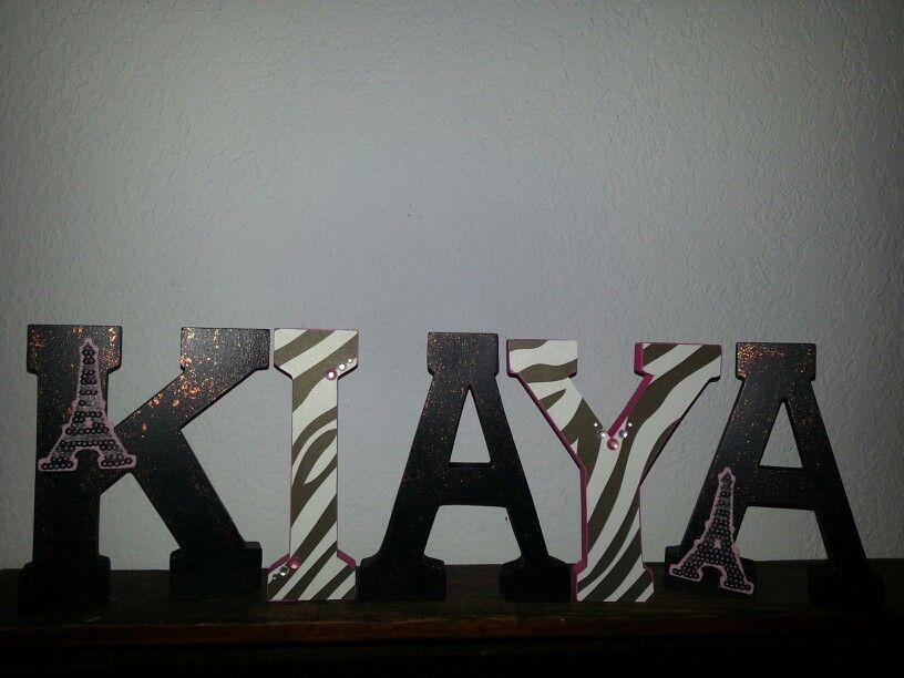 Wooden letters. Paris and zebra theme