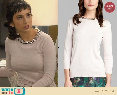 07b995d6a Mandy s sweater with embellished neckline on Last Man Standing. Outfit  Details  http