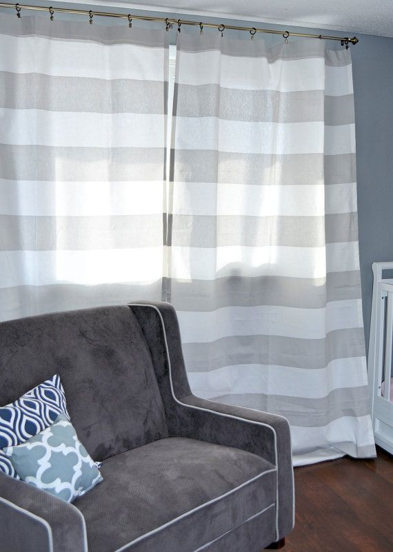 Pair Striped Designer Fabric Curtains Kitchens Home Decor   Kris\'s ...