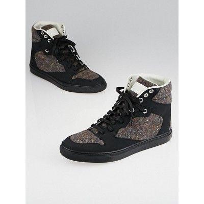 fd7178bfab Balenciaga Multicolor Tweed and Black Rubber High-Top Sneakers Size 7.5/38