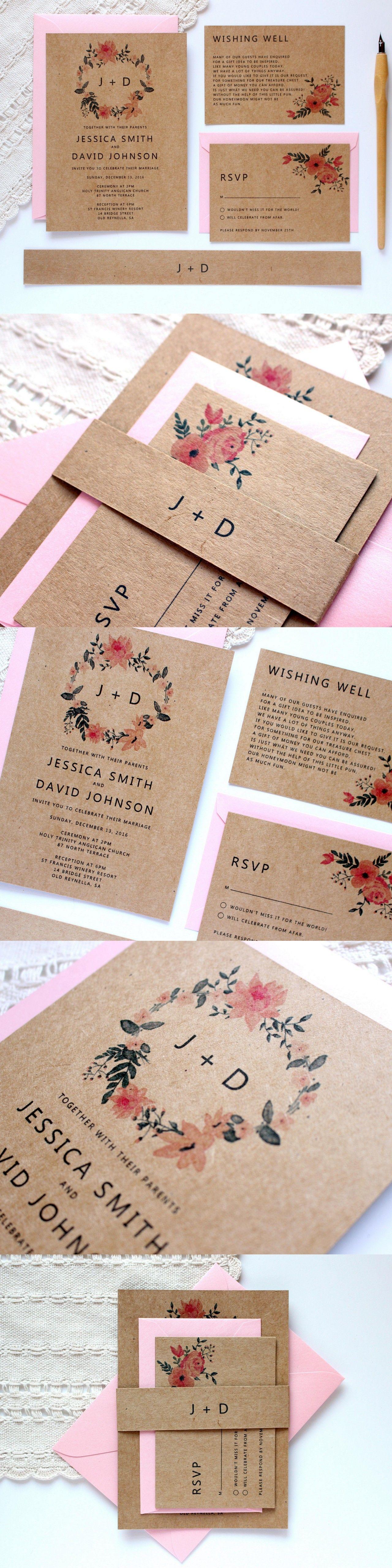 Rustic wedding invitation printed kraft wedding invitation printed