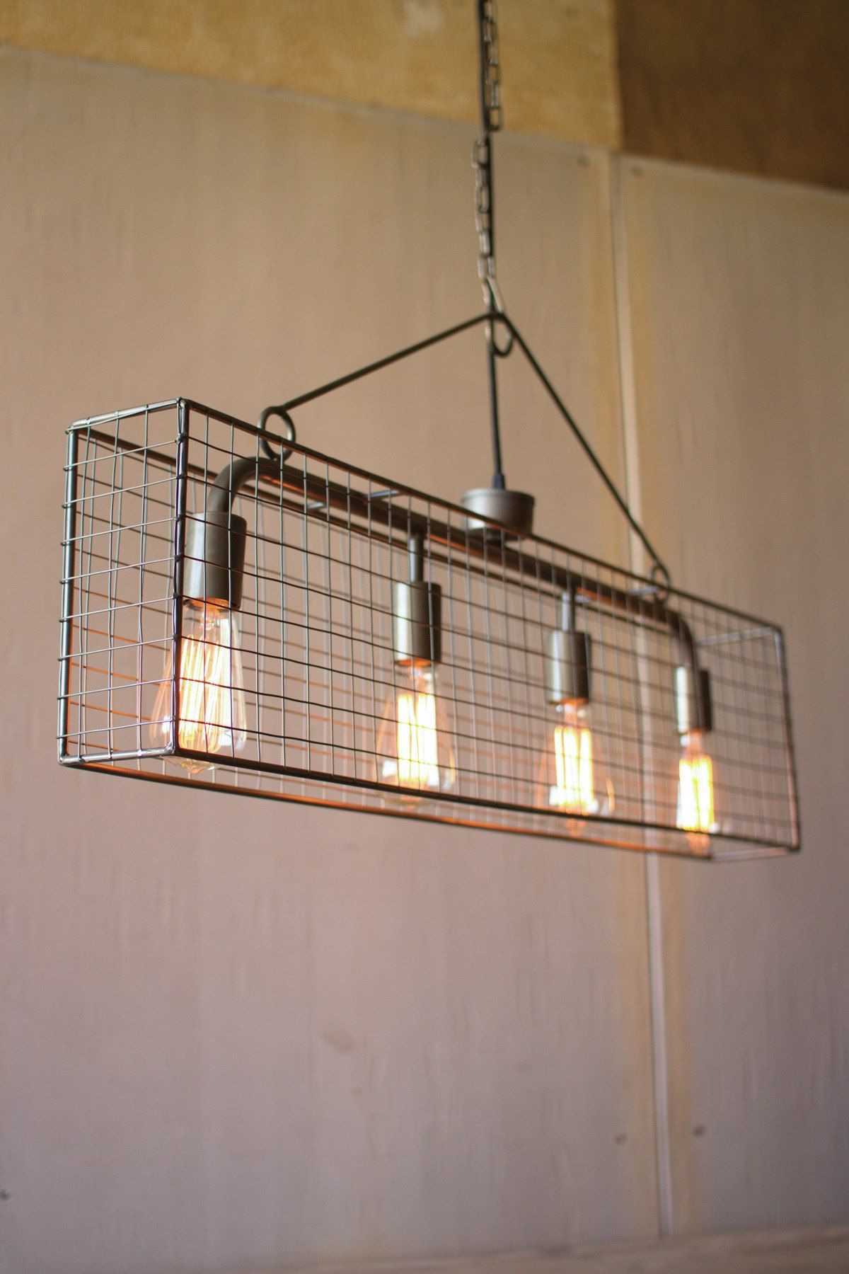 Four Bulb Wire Mesh Horizontal Pendant Light Wiring Further Ceiling Lights Wires Along With