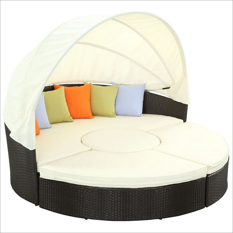 Delightful Outdoor Patio Daybed With Quest Canopy And Beautiful Cushions