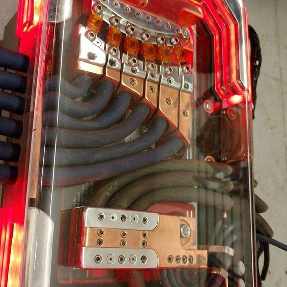 custom car audio power distribution, plexiglass billet, leds copper Car Audio Capacitor Wiring custom car audio power distribution, plexiglass billet, leds copper, fuse block