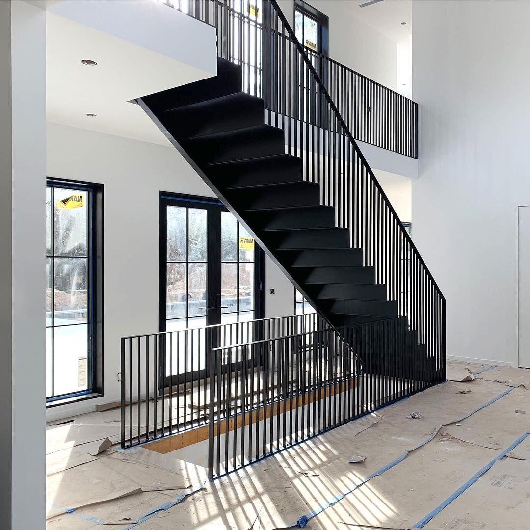 Custom, Black Steel Stair Design in a Modern Farmhouse ...