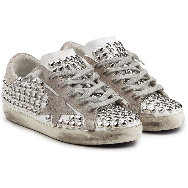 Golden Goose Super Star Studded Leather And Suede Sneakers Studded Sneakers Golden Goose Shoes Round Toe Sneakers
