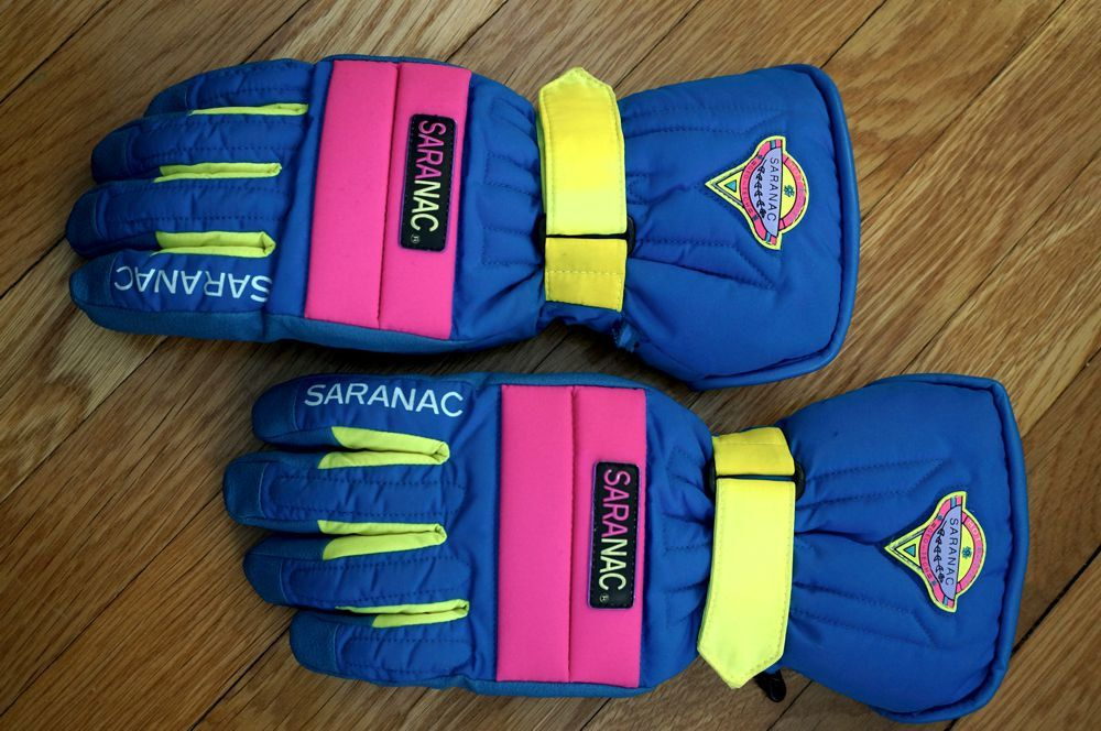 Vintage Ski Gloves 80s Neon Pink Yellow Blue Saranac Hot