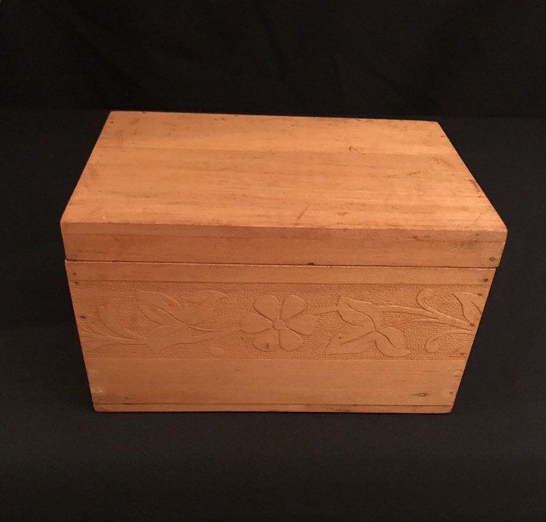 Vintage Wood Box Carved Floral Handmade Etsy Vintage Wood Box Vintage Wood Rustic Wood Box
