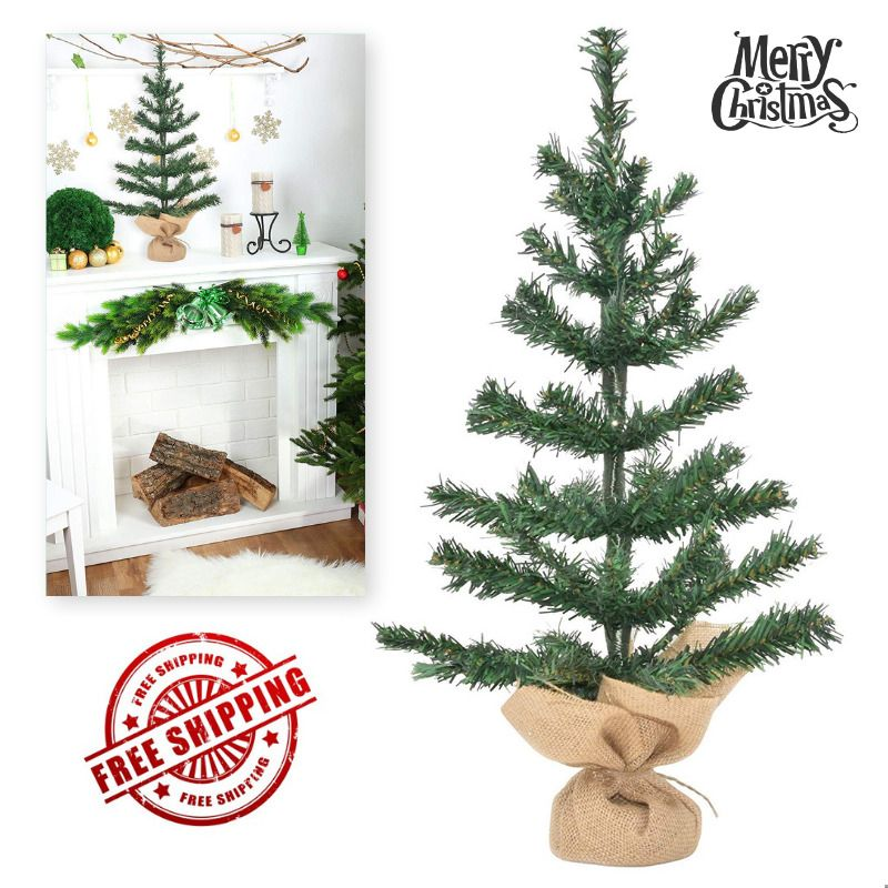 Details about Small Christmas Tree Artificial Rustic Decorations
