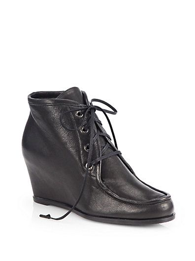 Stuart Weitzman - Wallop Leather Lace-Up Wedge Ankle Boots - Saks.com