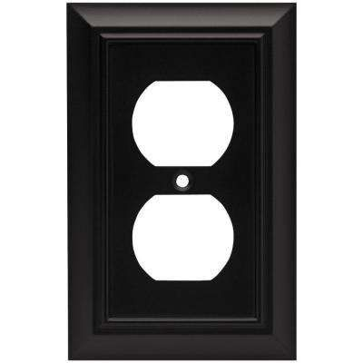 Architectural Decorative Single Duplex Outlet Cover Flat Black