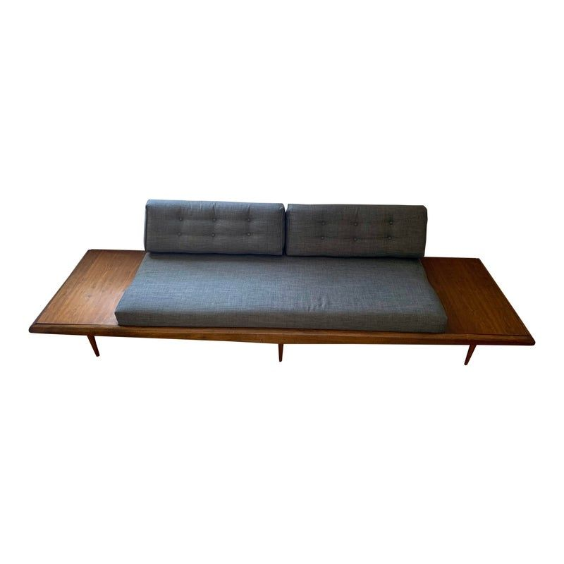 Mid Century Modern Adrian Pearsall Sofa With Attached End Tables