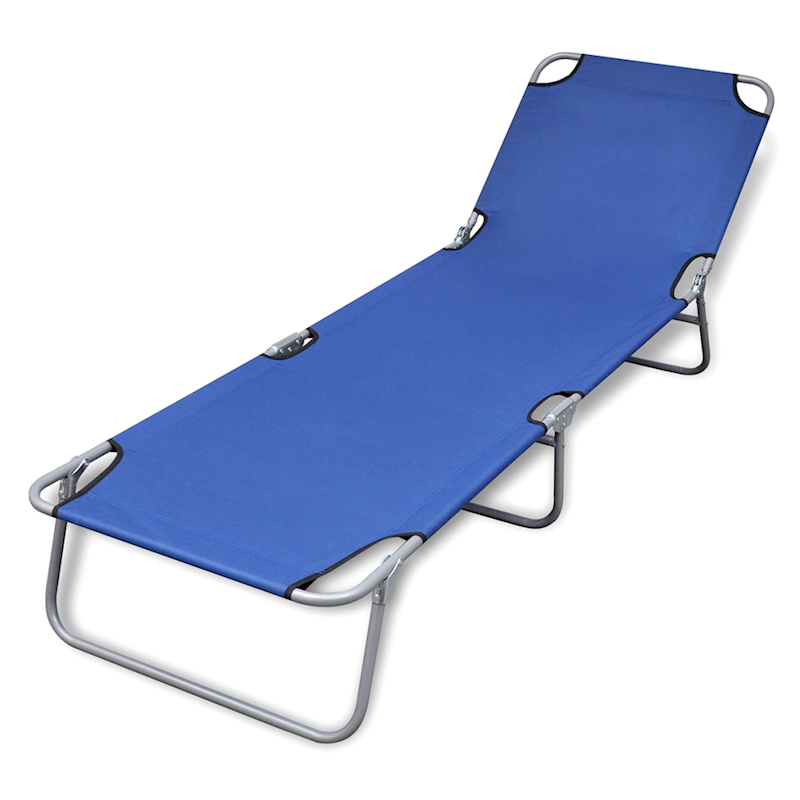 Blue Outdoor Foldable Sun Lounger Bed Reclining Beach Chair Fabric Adjule