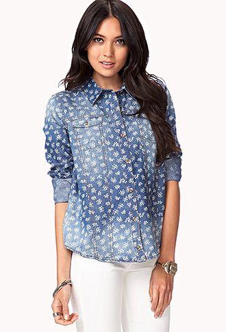 Life In Progress™ Floral Denim Shirt | LOVE21 - 2042295849