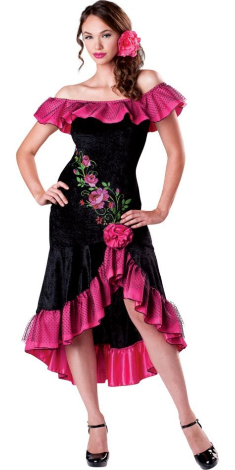 Adults Ladies Red Black Rumba Spanish Flamenco Dancer Fancy Dress Costume Outfit