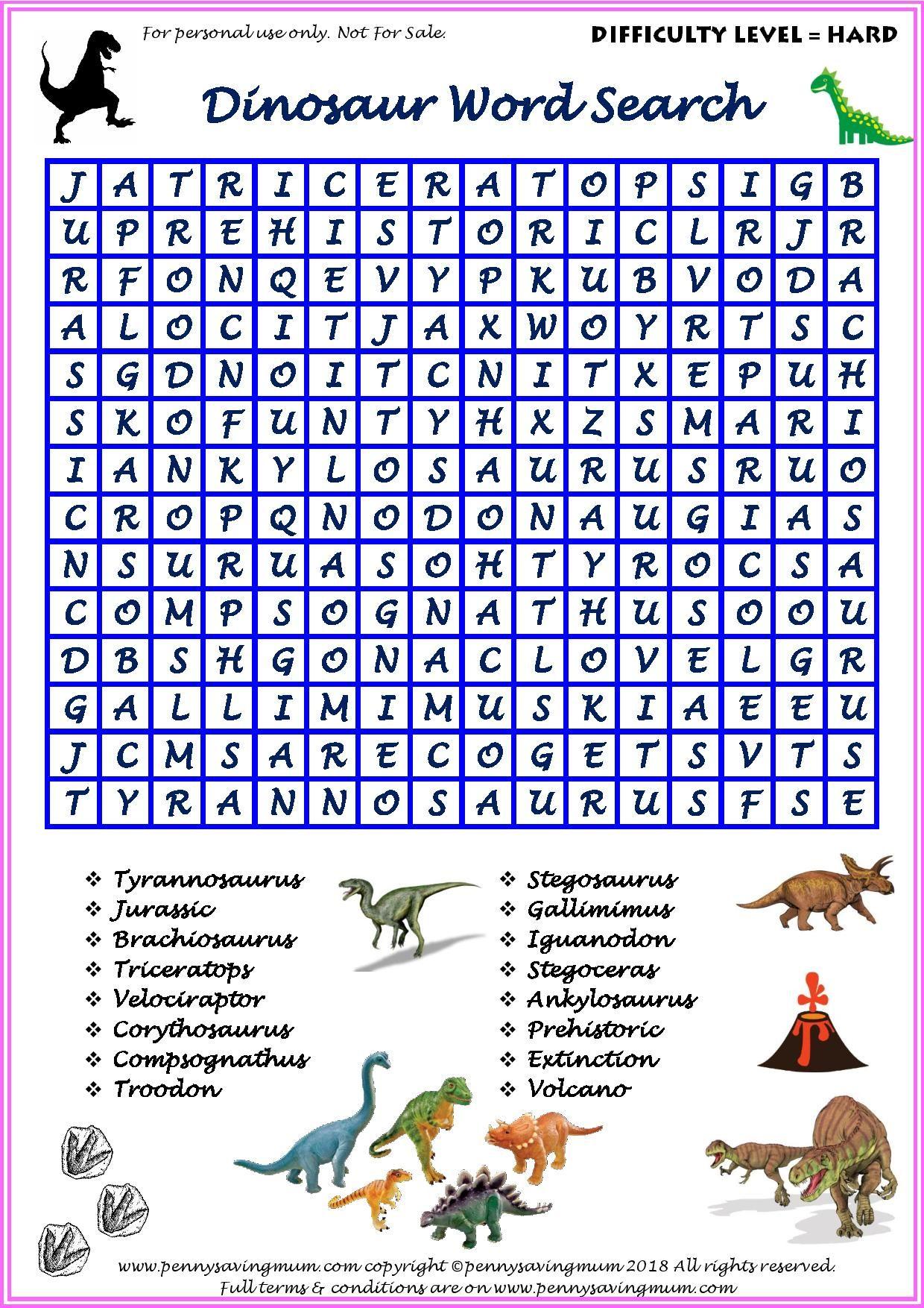 Word Search Dinosaur Hard Version
