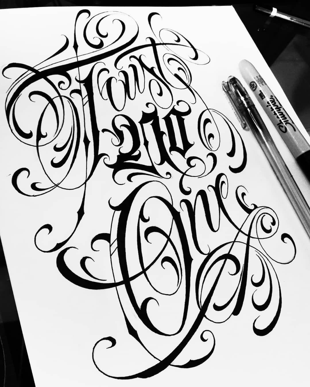 Trust no one lettering script letters design tattoo