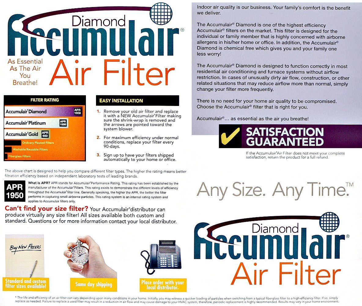 Accumulair Diamond 22x24x1 21.5x23.5 MERV 13 Air Filter