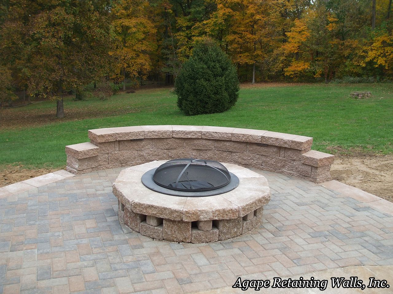 Poolside Fire Pit! Agape Retaining Walls, Inc. installed ...