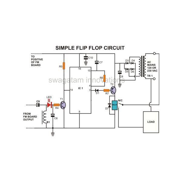 Rangkaian Elektronika Sederhana Lampu Flip Flop