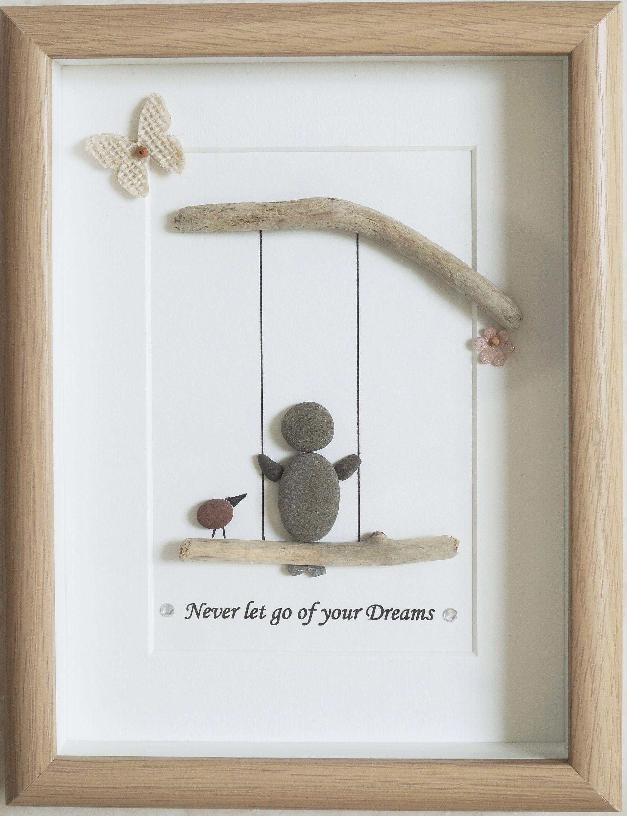Guijarro arte enmarcado cuadro no suelte nunca de tus sueños ...