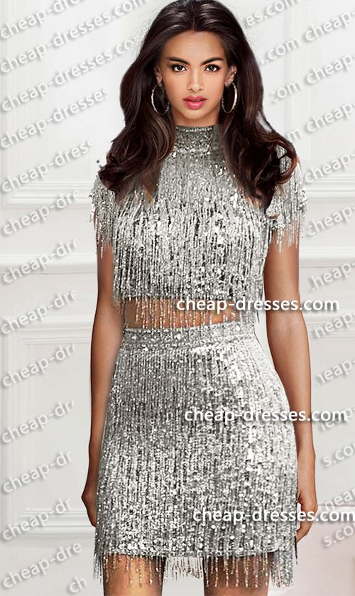 eebf1a52d15 flashy high neck two piece short sequins fringe dress.prom dresses