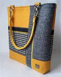 Bolso Harris Tweed gris y amarillo