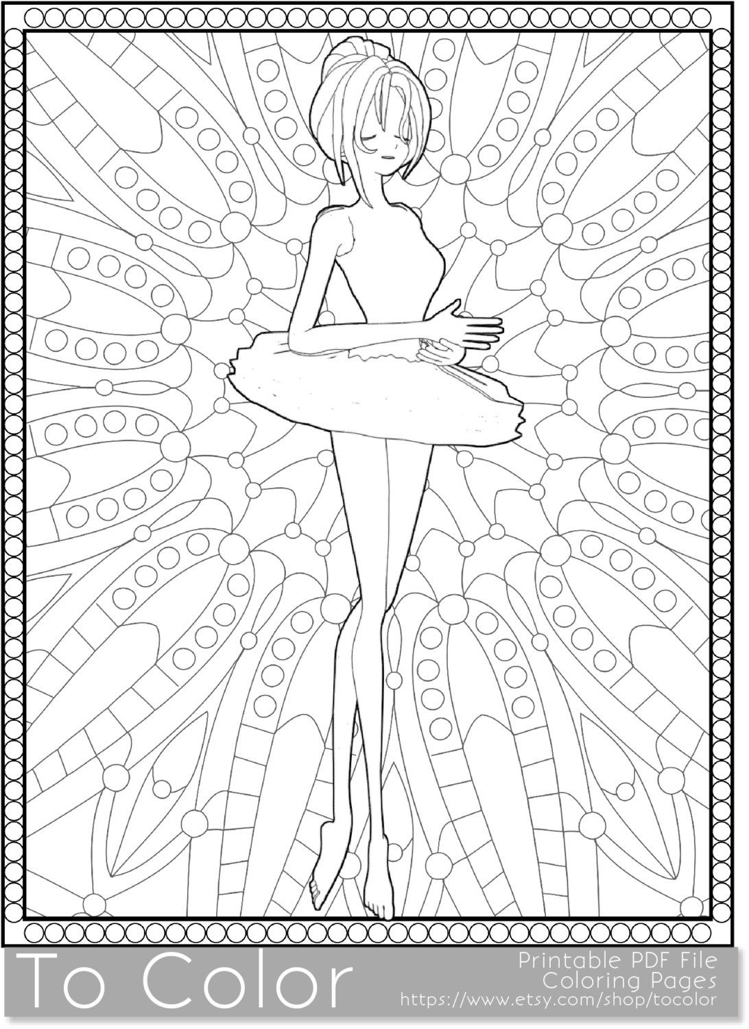 Ballet Printable Coloring Pages For Adults Girl Tutu PDF JPG Instant Download Book Sheet Grown Ups By ToColor On Etsy