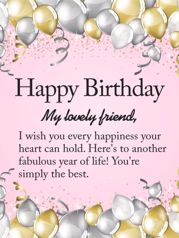 To My Lovely Friend Happy Birthday Wishes Card Another