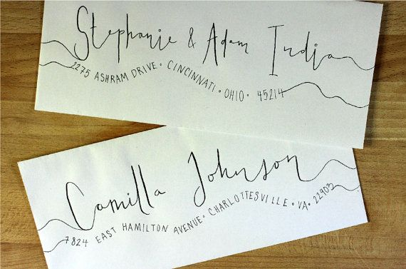 Handwritten Wedding Invitation Envelopes Wavy by SimplyShindig