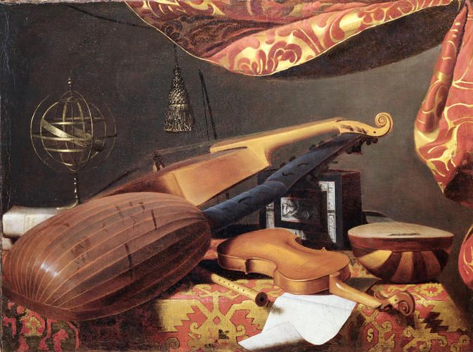 Bartolomeo Bettera - Natura morta con strumenti musicali e metronomo - 1660-1670 - Accademia Carrara di Bergamo Pinacoteca