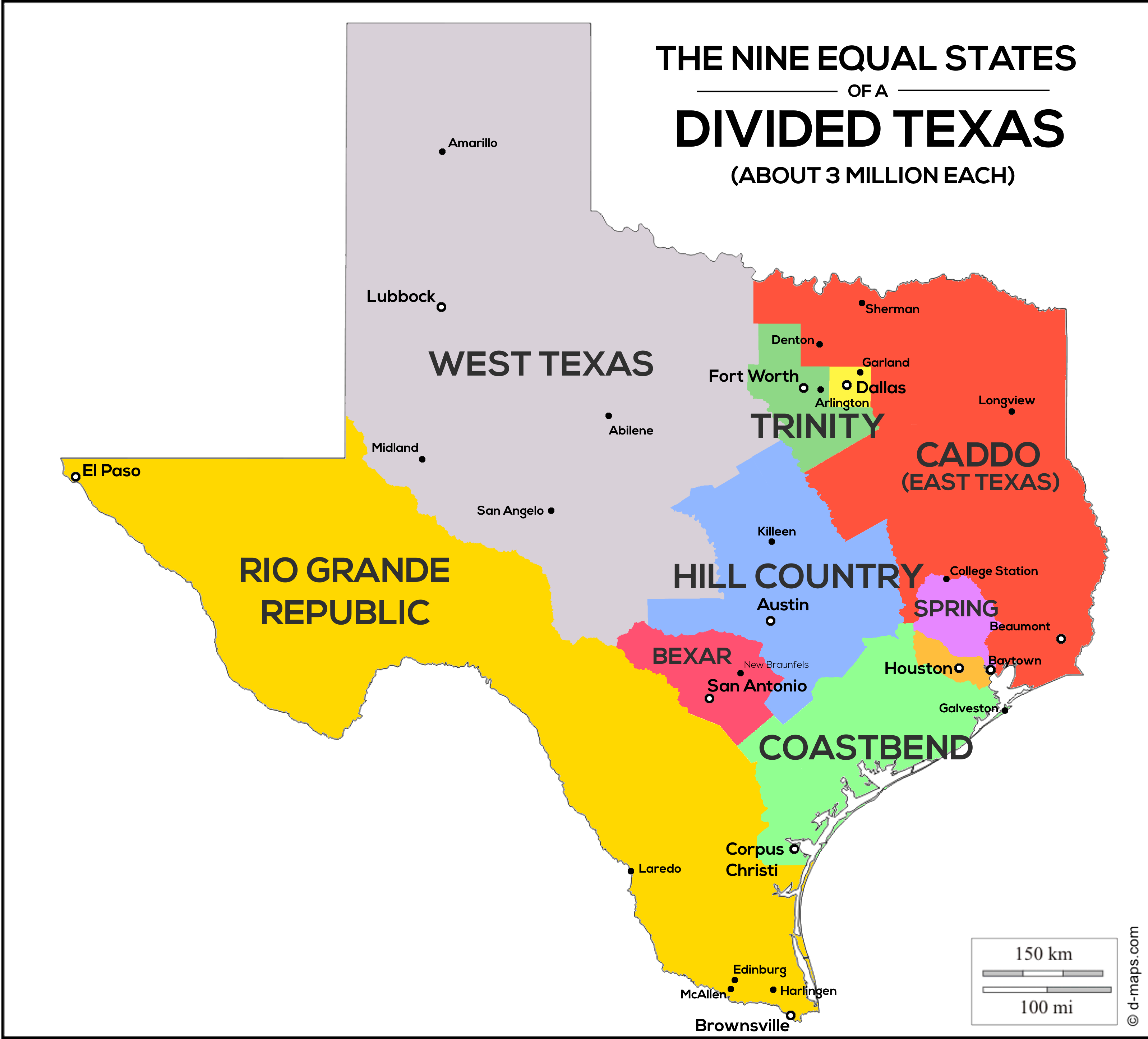 Nine Equal States Of A Divided Texas Population Map Oc 3195x2891 Texas Map Republic Of Texas Texas Country