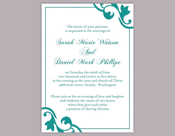 Diy Wedding Invitation Template Editable Word File Instant Download El Invitation Templates Word Wedding Invitation Templates Diy Wedding Invitations Templates