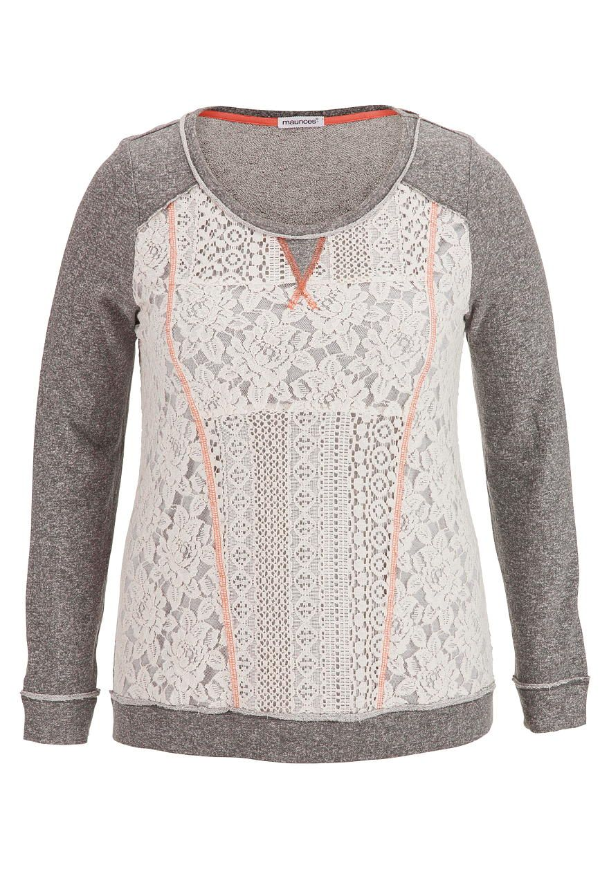 plus size lacy pullover with contrast stitching