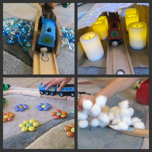 Great ideas on how to make playing with trains different...