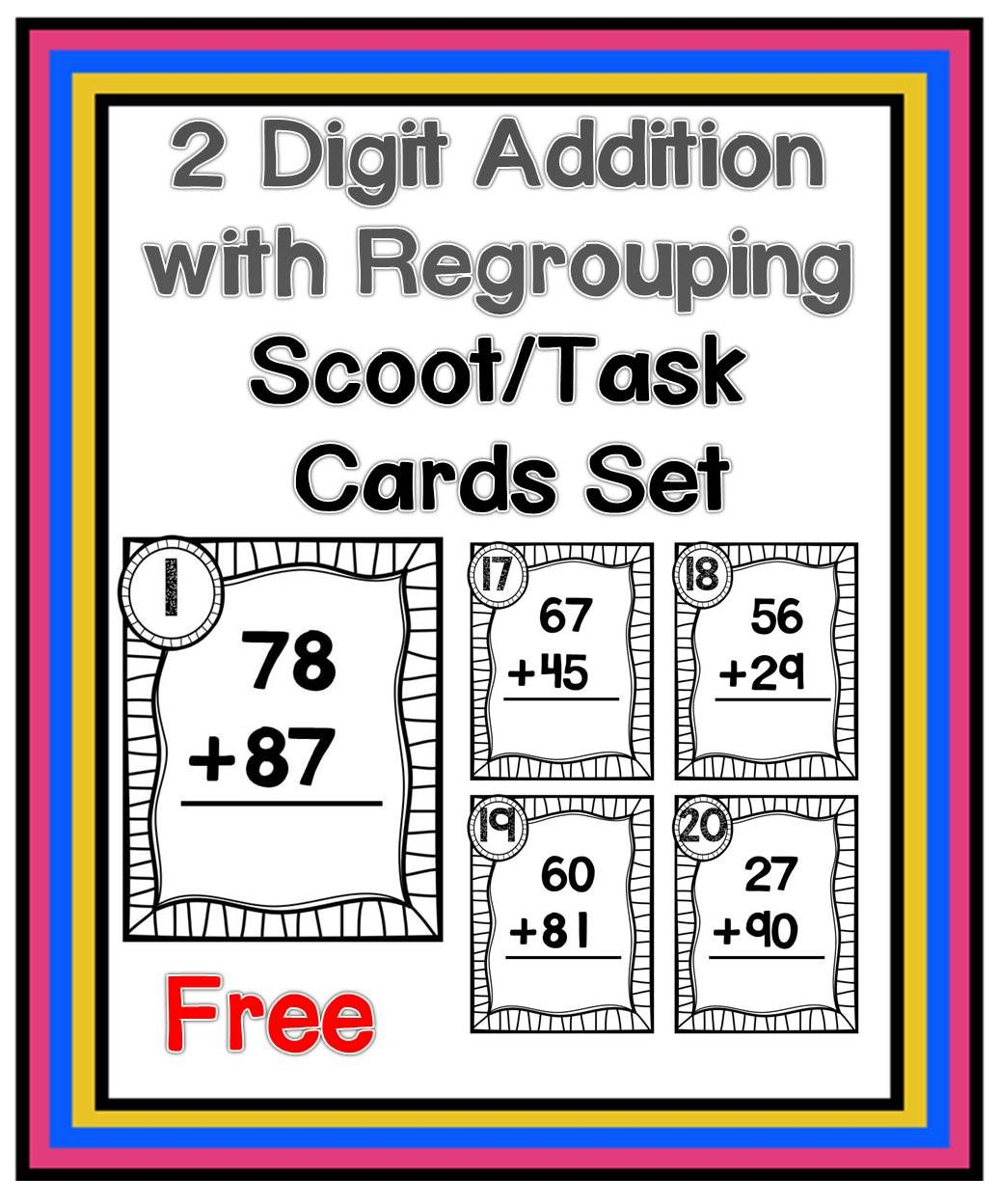Two Digit Addition With Regrouping Scoot Task Cards Set
