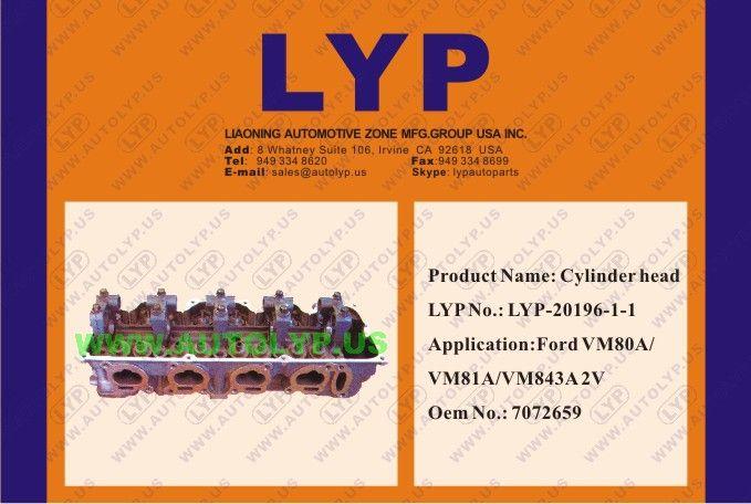 LYP-20196-1-1: CYLINDER HEAD OEM number: 7072659 REPLACEMENT FOR FORD Engine Model: VM80A/VM81A/VM843A 2V